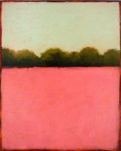 Color Field 381: Abstract Landscape Painting of a Pink Field and Mint Green Sky