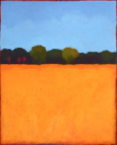Color Field (Abstract Landscape Painting of Orange Meadow, Forest, and Blue Sky)