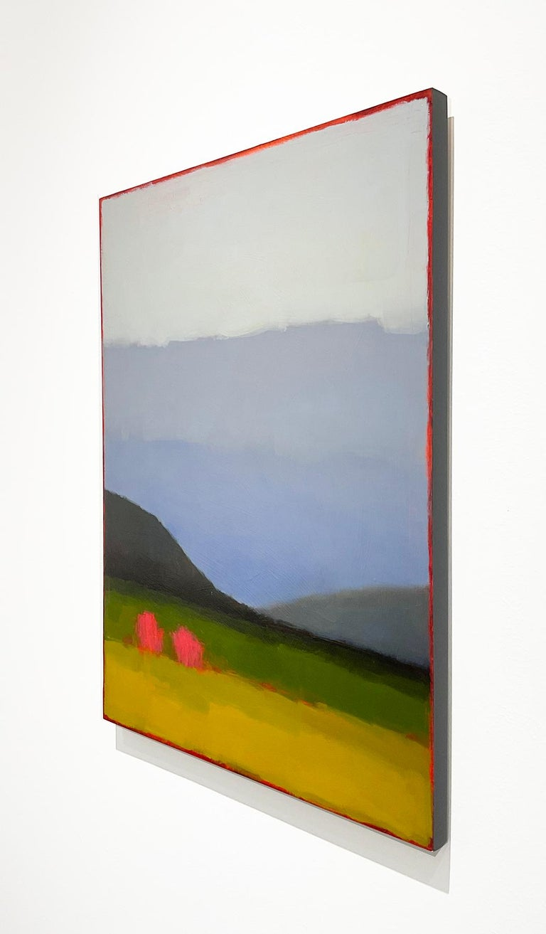 Early May: Abstract Color Field Landscape Painting Green Fields & Periwinkle Sky For Sale 2