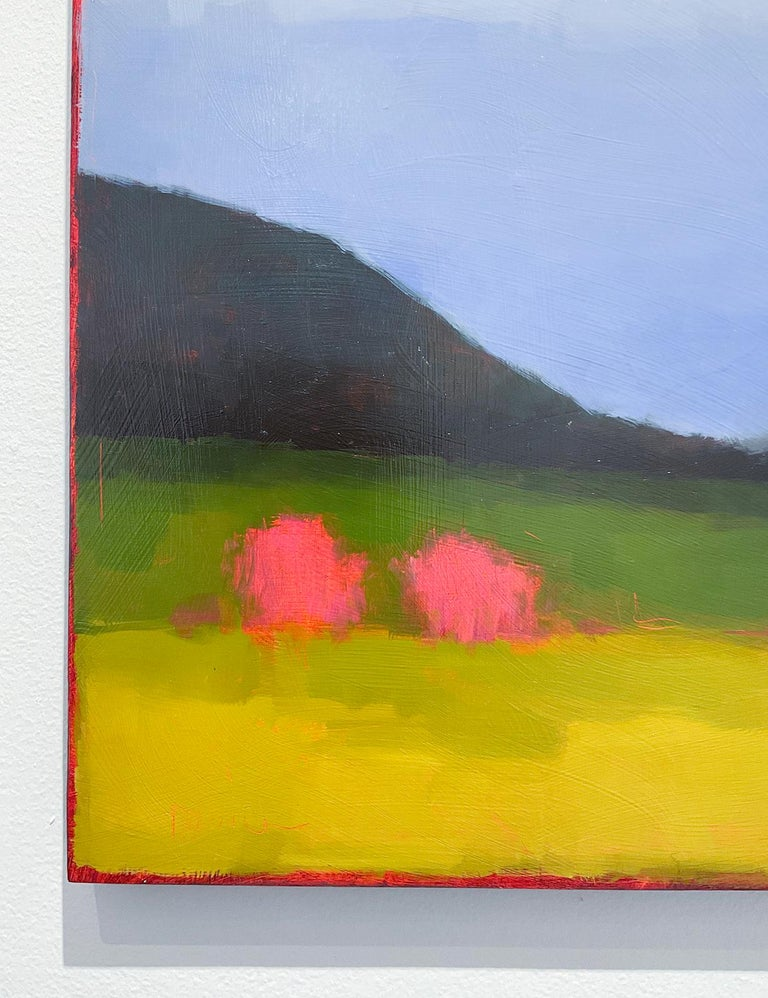 Early May: Abstract Color Field Landscape Painting Green Fields & Periwinkle Sky For Sale 4