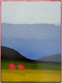 Early May: Abstract Color Field Landscape Painting Green Fields & Periwinkle Sky