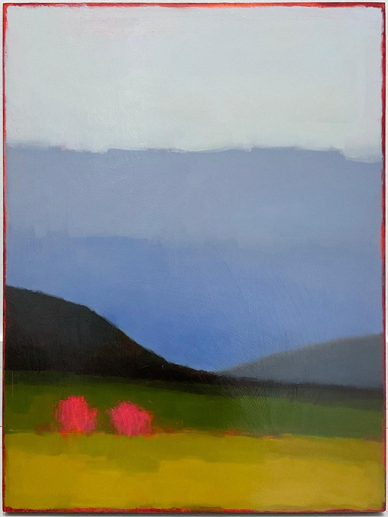 """Minimal, abstracted landscape painting with green fields under a gradient periwinkle sky with two magenta trees """"Early in May"""", painted by Tracy Helgeson in 2019 Ready to hang as is, no frame required, edges of the panel are painted soft"""