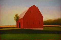 Great Amish Barn: Modern Edward Hopper Inspired Landscape Painting on Panel