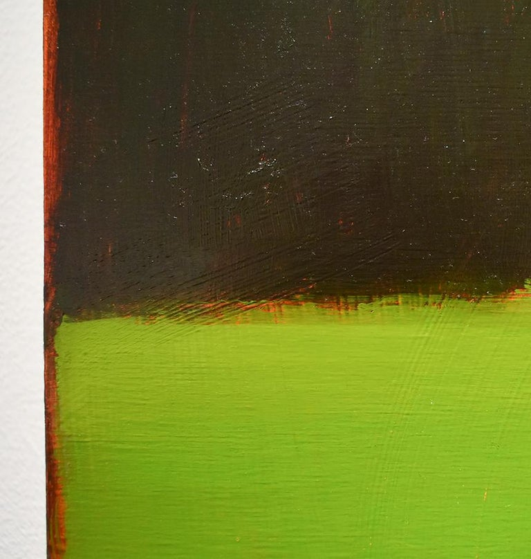 Half & Half (Contemporary Minimalist Vertical Landscape in Magenta) - Green Landscape Painting by Tracy Helgeson