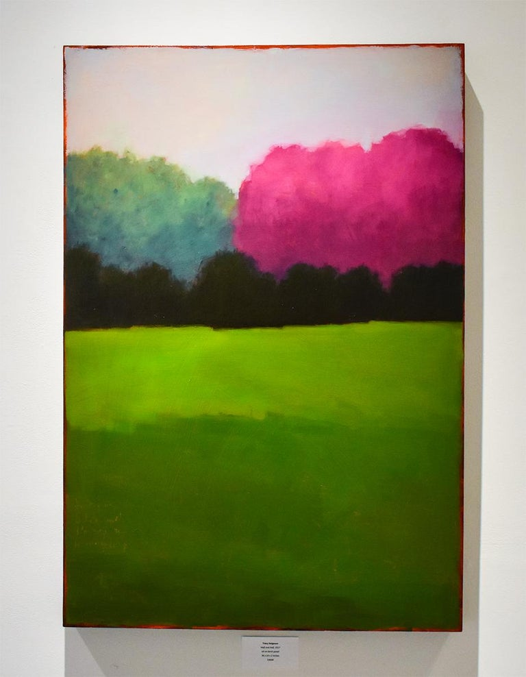 Half & Half (Contemporary Minimalist Vertical Landscape in Magenta) by Tracy Helgeson oil on birch panel, 36 x 24 x 1.5 inches Ready to hang as is, no frame required, Edges of panel are painted soft black  Helgeson saturates a panel with layers of