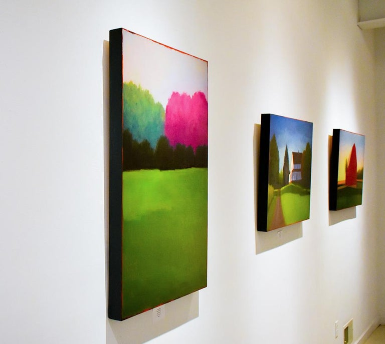 Half & Half (Contemporary Minimalist Vertical Landscape in Magenta) For Sale 1