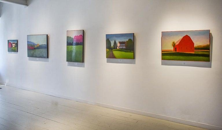 Half & Half (Contemporary Minimalist Vertical Landscape in Magenta) For Sale 2