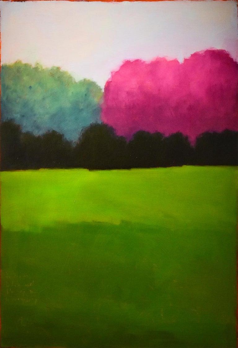 Tracy Helgeson Landscape Painting - Half & Half (Contemporary Minimalist Vertical Landscape in Magenta)