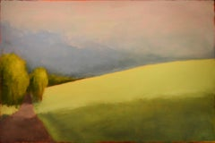 Long Light: Modern Color Field Landscape Painting of a Green Field & Blue Sky