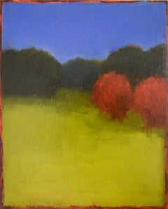 Moody Day: Abstract Landscape Painting of a Green Field, Red Trees & Blue Sky