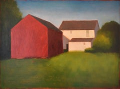 New Painter's Farm: Contemporary Landscape Painting of a Red & White Barn