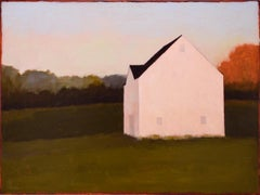 Peek at the Roof (Minimal Landscape Painting of a White House in a Green Field)