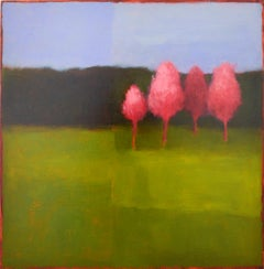 Pink Trees (Abstracted Landscape Painting of Green Field & Periwinkle Sky)