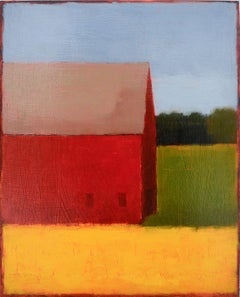 Primarily a Barn (Minimal Abstracted Landscape Painting of a Red Barn on a Farm)