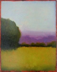 Purple Haze (Abstract Landscape Painting of a Green Field, Purple & Blue Sky)