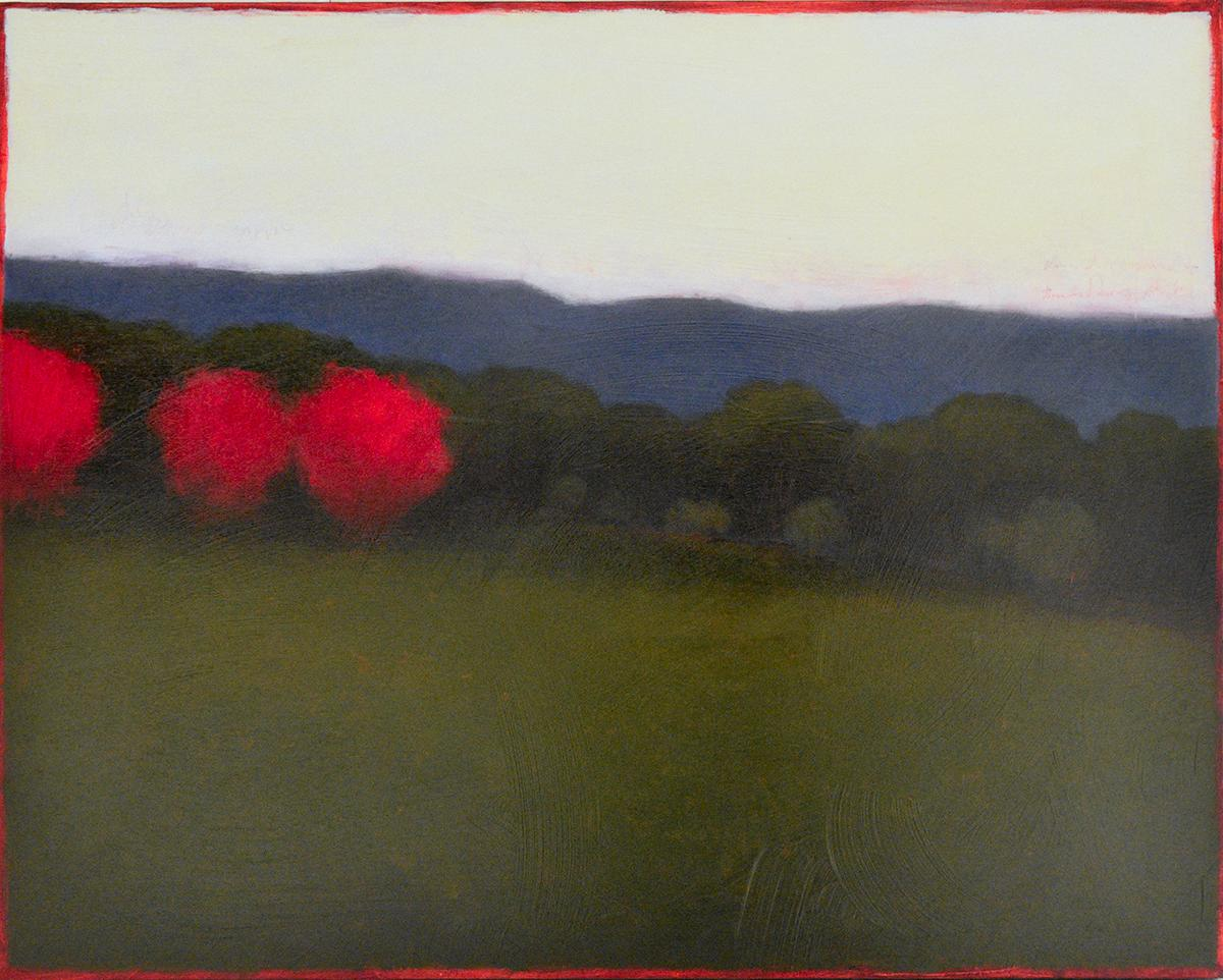 Quiet Nightfall (Abstract Landscape Painting of Green Forest & Pink Trees)