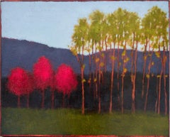 Red Tree, Green Tree (Abstract Landscape Painting on Panel of a Country Forest)