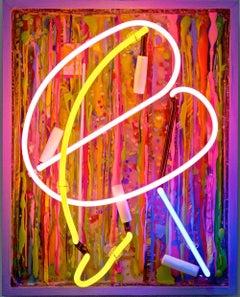 Pink Bean, orange neon, vibrant colours, vintage board, original, authentic
