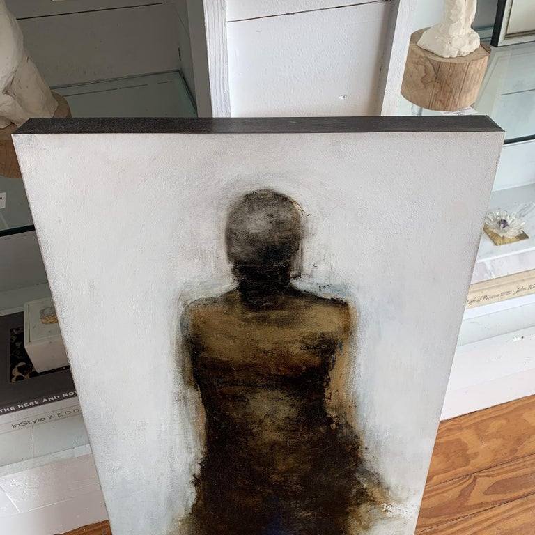 Mixed media on wooden panel by well known Artist, Tracy Sharp  This piece has gold leaf, a touch of blue, black and whites. Tracy Sharp is a full time artist based in Atlanta, GA and is featured in many fine art galleries around the USA