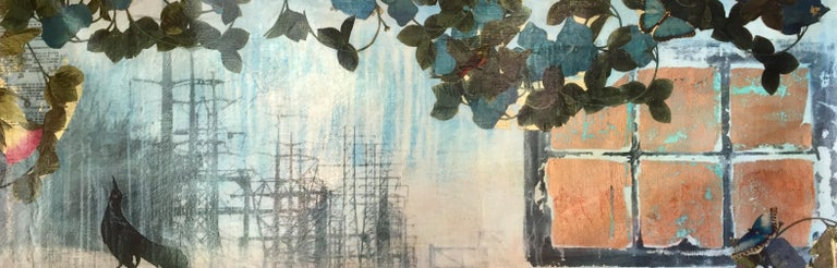 Tracy Silva Barbosa Landscape Painting - Early Morning Train, abstracted scene, blue and orange mixed media painting
