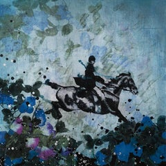 Saltar, mixed media, 30 x 30 inches. Equestrian painting