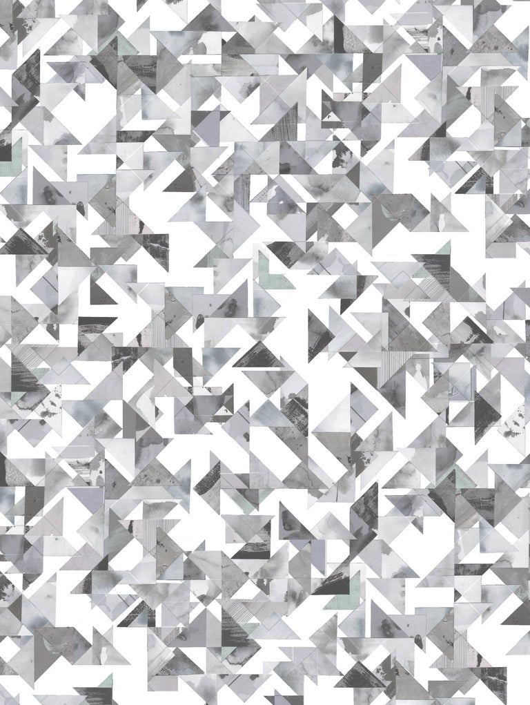 Modern Trade Routes-Geometric Print Wallpaper in Pastel Colorway, on Smooth Paper For Sale