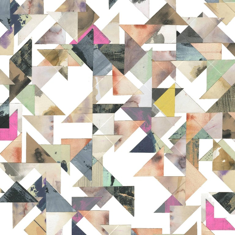 Contemporary Trade Routes-Geometric Print Wallpaper in Pastel Colorway, on Smooth Paper For Sale