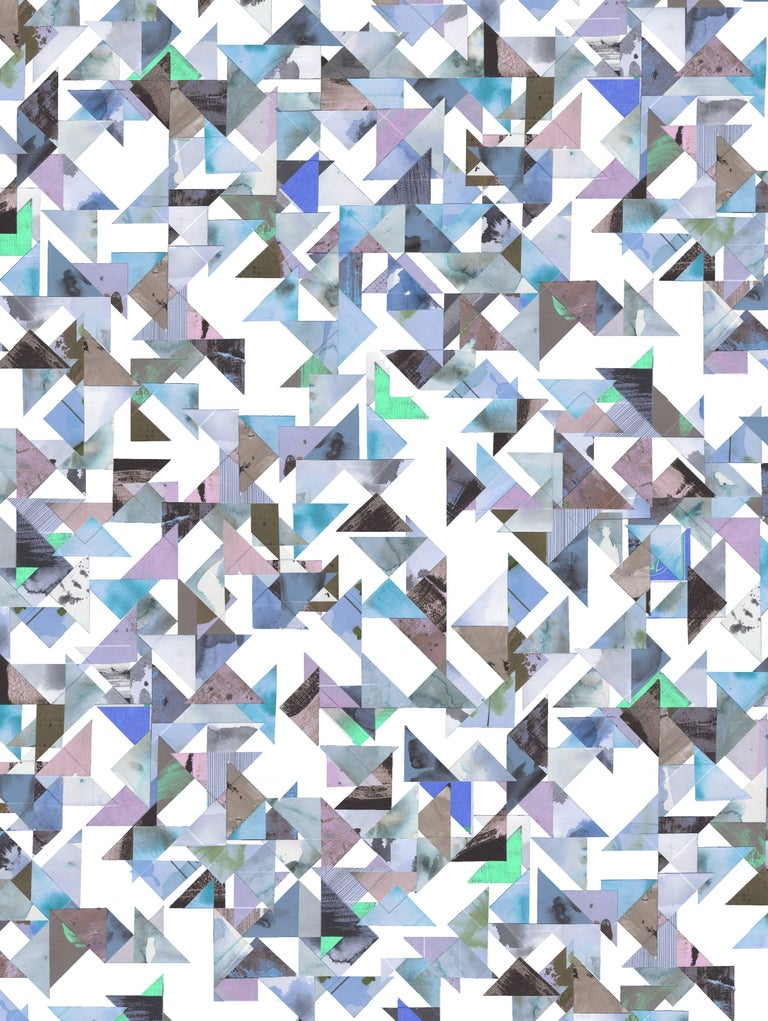 Trade Routes-Geometric Print Wallpaper in Pastel Colorway, on Smooth Paper For Sale 1