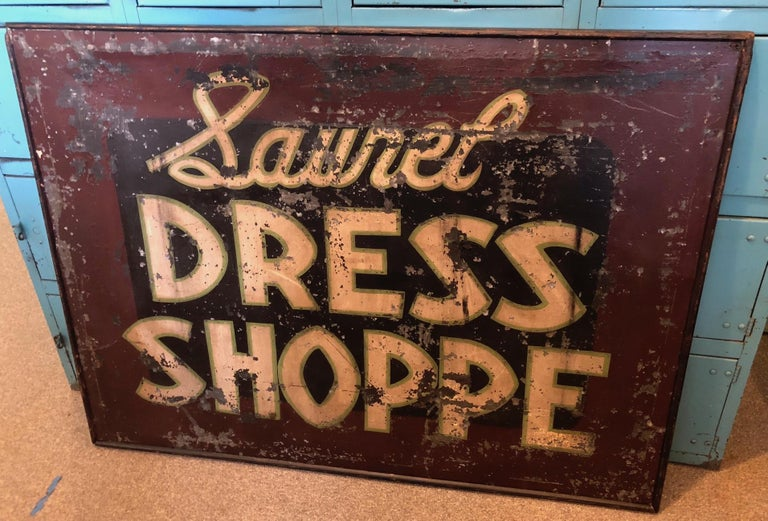 Trade Sign of Tin for Dress Shoppe For Sale 8
