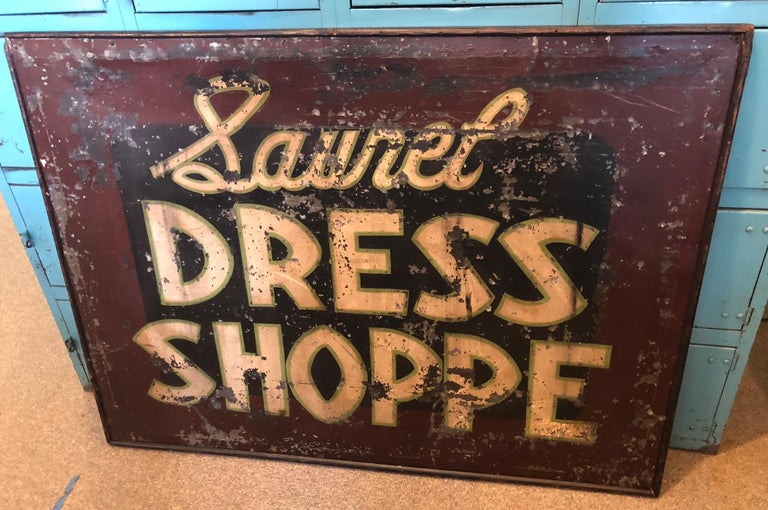 Trade Sign of Tin for Dress Shoppe For Sale 10