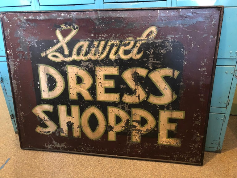 Large, early trade tin sign: