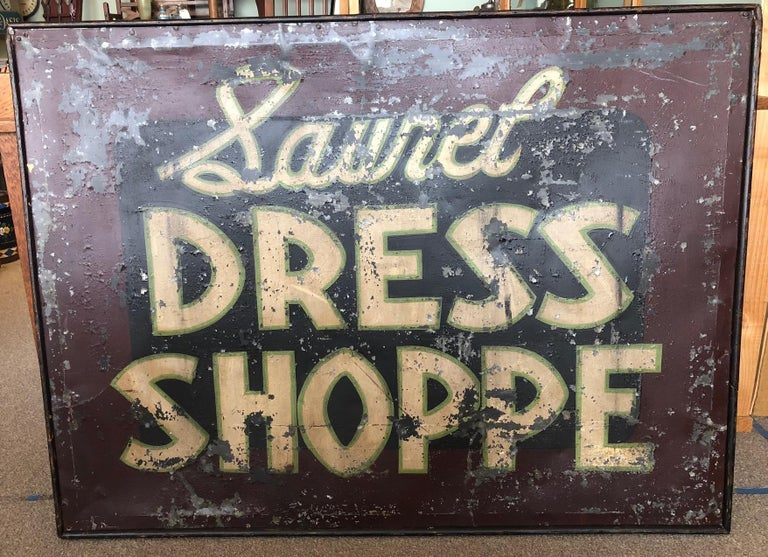 American Trade Sign of Tin for Dress Shoppe For Sale