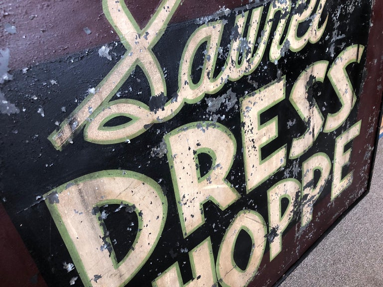 Trade Sign of Tin for Dress Shoppe For Sale 2