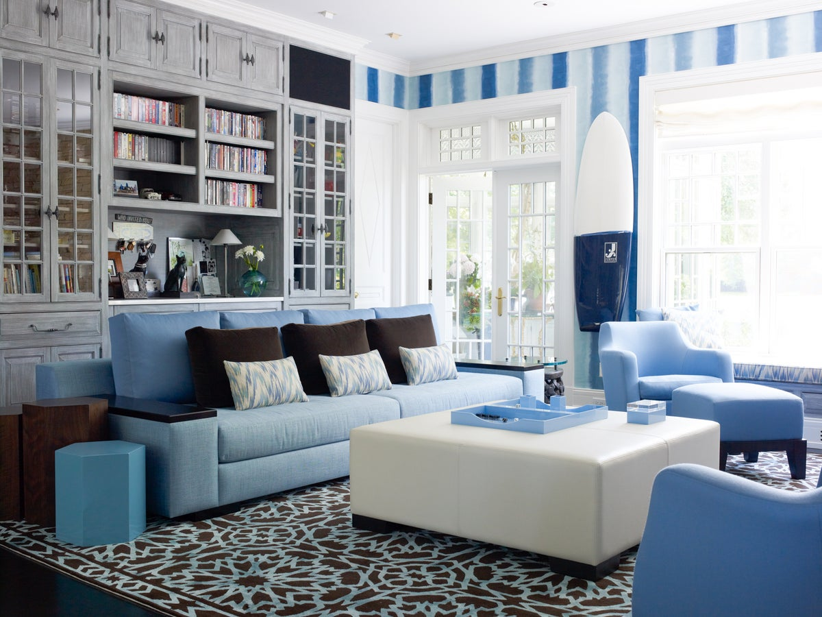Contemporary Living Room in Hamptons, NY by Richard Mishaan Design