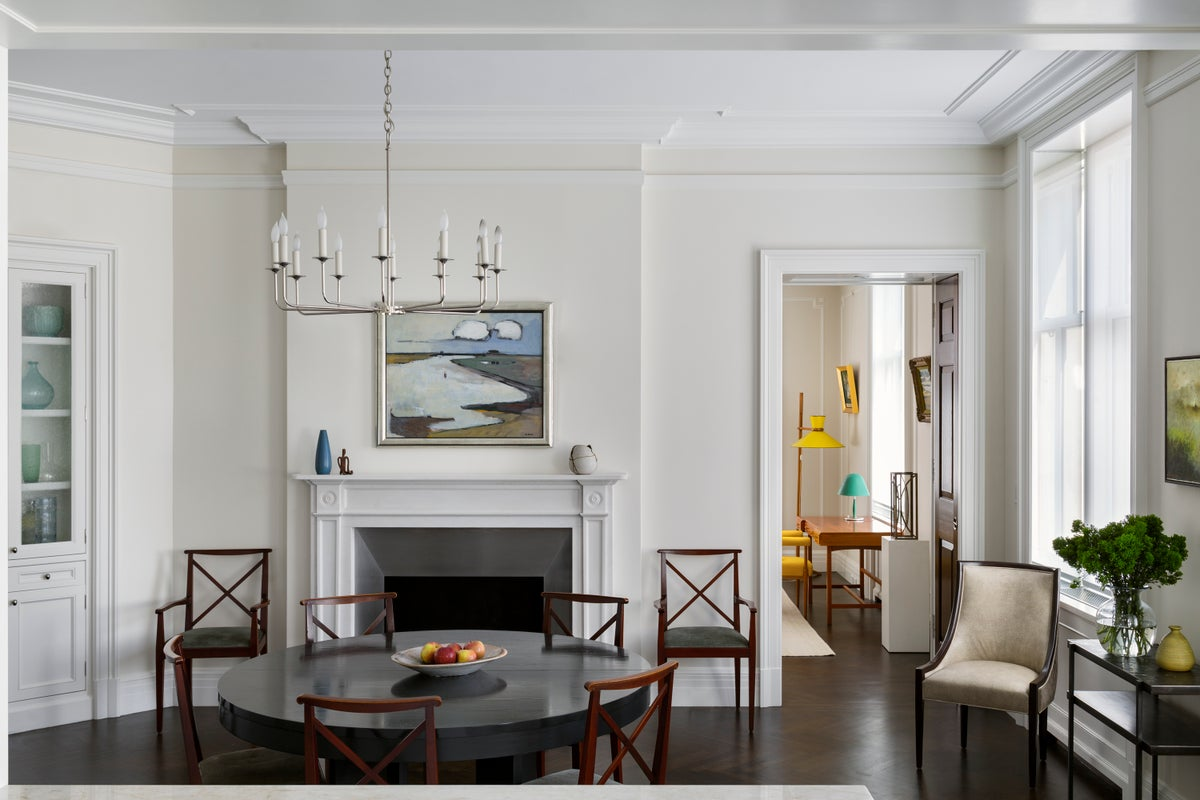 Transitional Dining Room in New York, NY by 2Michaels