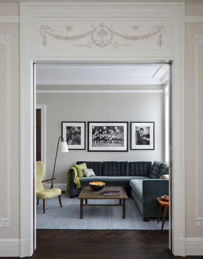 Classic Molding Living Room Looking into Library