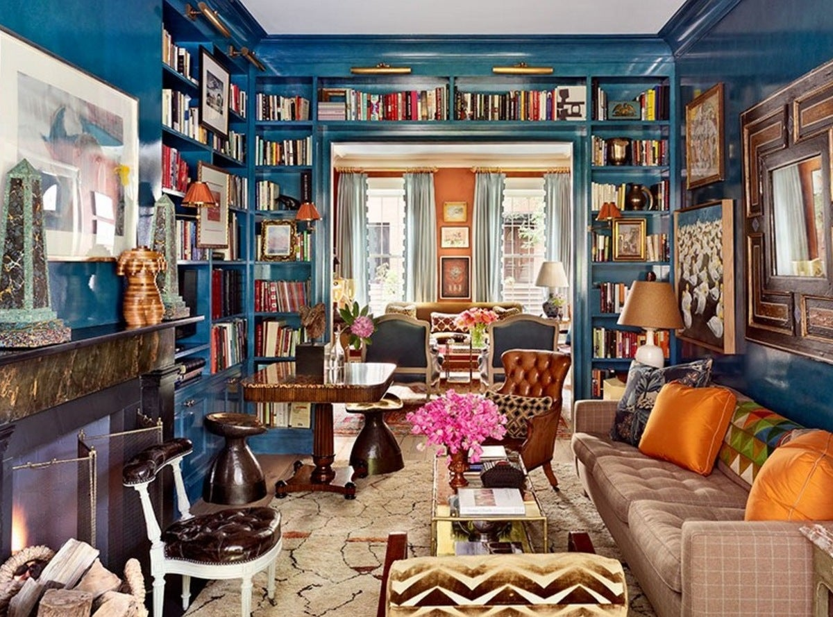 Library maximalist living room in brooklyn ny by nick for Living room brooklyn