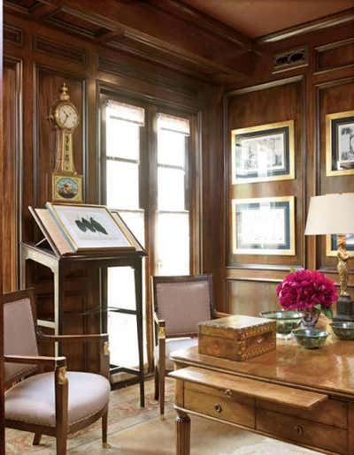 Transitional Office and Study. British Townhome by J. Randall Powers Interior Decoration.