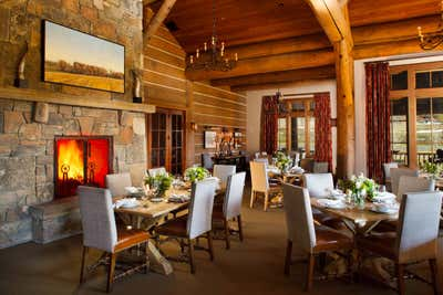 Rustic Dining Room. Snake River Sporting Club by WRJ Design Associates.