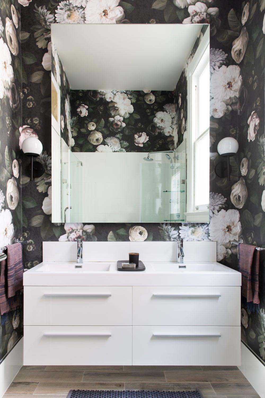 Moody Dark Floral Wallpaper In Powder Room By Regan Baker Design