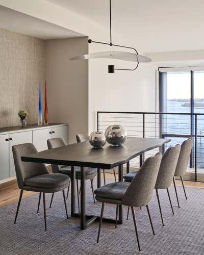Modern Dining Room. Waterfront Loft by Lewis Birks LLC.