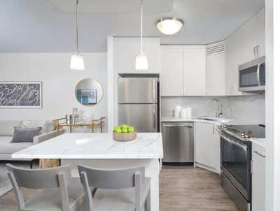 Government/Institutional Kitchen. River North Park Apartments by Brass Tacks Studio.