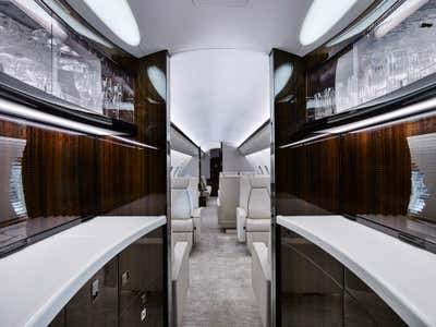 Transportation Bar and Game Room. Bombardier Global 5000 by 212box LLC.