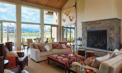 Western Living Room. Jackson Hole Ranch House Modern by Tichenor and Thorp Architects.