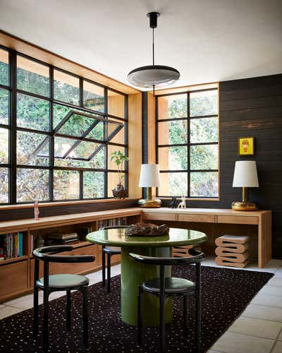 Eclectic Dining Room. Los Angeles Residence by Studio Shamshiri.