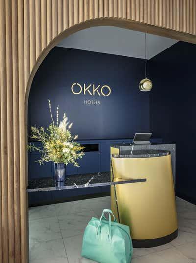 Beach Style Lobby and Reception. Okko Hotels by Studio Catoir.