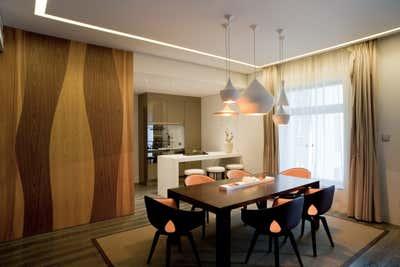 Contemporary Dining Room. Green Apartment by Sergio Mannino Studio.