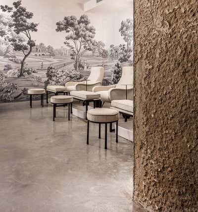 Minimalist Lobby and Reception. FOURSPA AQIQ RIYADH  by Nebras Aljoaib Design.
