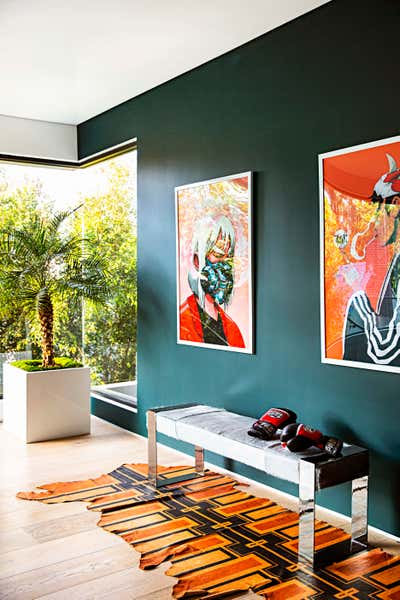 Bachelor Pad Entry and Hall. West Hollywood  by Peti Lau Inc.