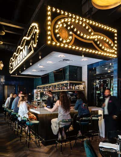 Hollywood Regency Bar and Game Room. GJ Tavern by Nest Design Group.